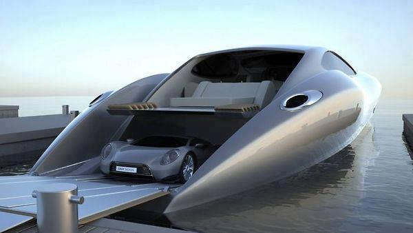luxury boat with built in car