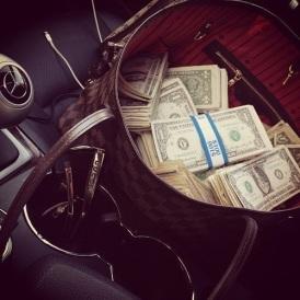 gucci bag full of money